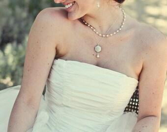 Pearl Rhinestone Necklace Bridal Pearl Necklace Ivory swarovski Pearls Bridal Rhinestone Necklace Statement Bridal Necklace STEPHANIE