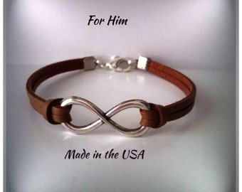 Leather Infinity bracelet for Him Men's jewelry Man gift Infinity charm Leather jewelry Friendship bracelet Jewelry Endless love bracelet