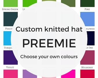 Custom PREEMIE hat, baby hat, newborn baby hat, custom knitted beanie, beanie hats, toque for baby, tiny baby hat, premature baby hat, etsy
