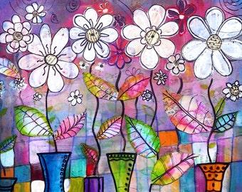 Flowers print Dance into the Light  flowers still life art print flowers art print garden painting floral art print flowers art print