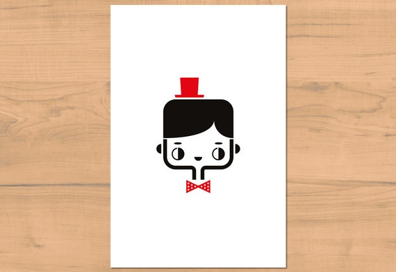 Postcard Ben - cute greeting card - kawaii illustration - minimalist home decor children bedroom - black white red - girl gift