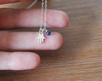 Hand of Hamsa sterling silver + Lapis Lazuli inspirational necklace Hand of Fatima necklace delicate + dainty layer / layering necklace