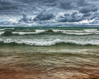 Shore Waves during a rain storm in Sturgeon Bay at Wilderness State Park by Lake Michigan No.353 Fine Art Nautical Seascape Photography