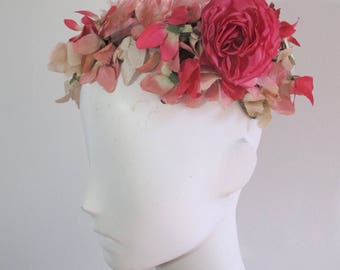 Vintage 1940s Floral Pillbox Hat