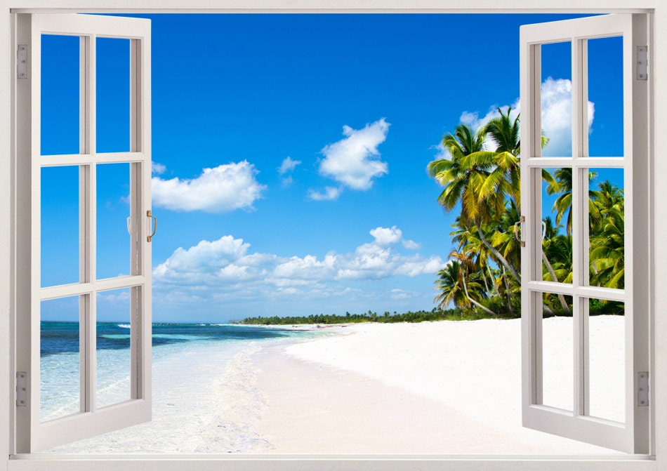 Beautiful beach mural and tropical sea wall sticker 3d window for Beach window mural