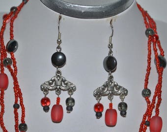 Red and grey earrings