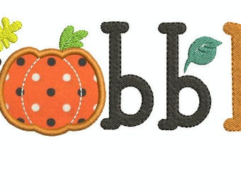 Gobble Words Thanksgiving Fall Applique Machine Embroidery Design