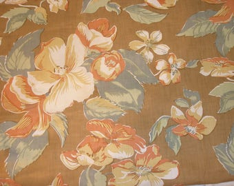 Large Orange and Taupe floral