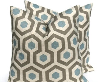 15% Off Sale BLUE PILLOW DecorativeBlue Pillow ,Blue Tan Pillow, Gray Pillow,Blue Pillow Cover, Gray Pillow, Accent Pillow ,SET  Blue Cushio