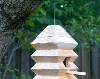 Modern Birdhouse, Unique Birdhouses, Cedar Bird Home, Outdoor Bird House