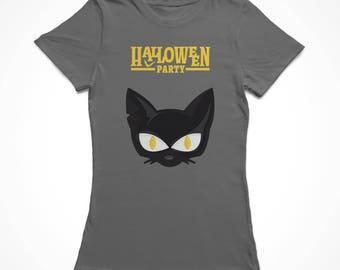 Halloween Party Black Cat Head Cartoon Women's Charcoal T-shirt