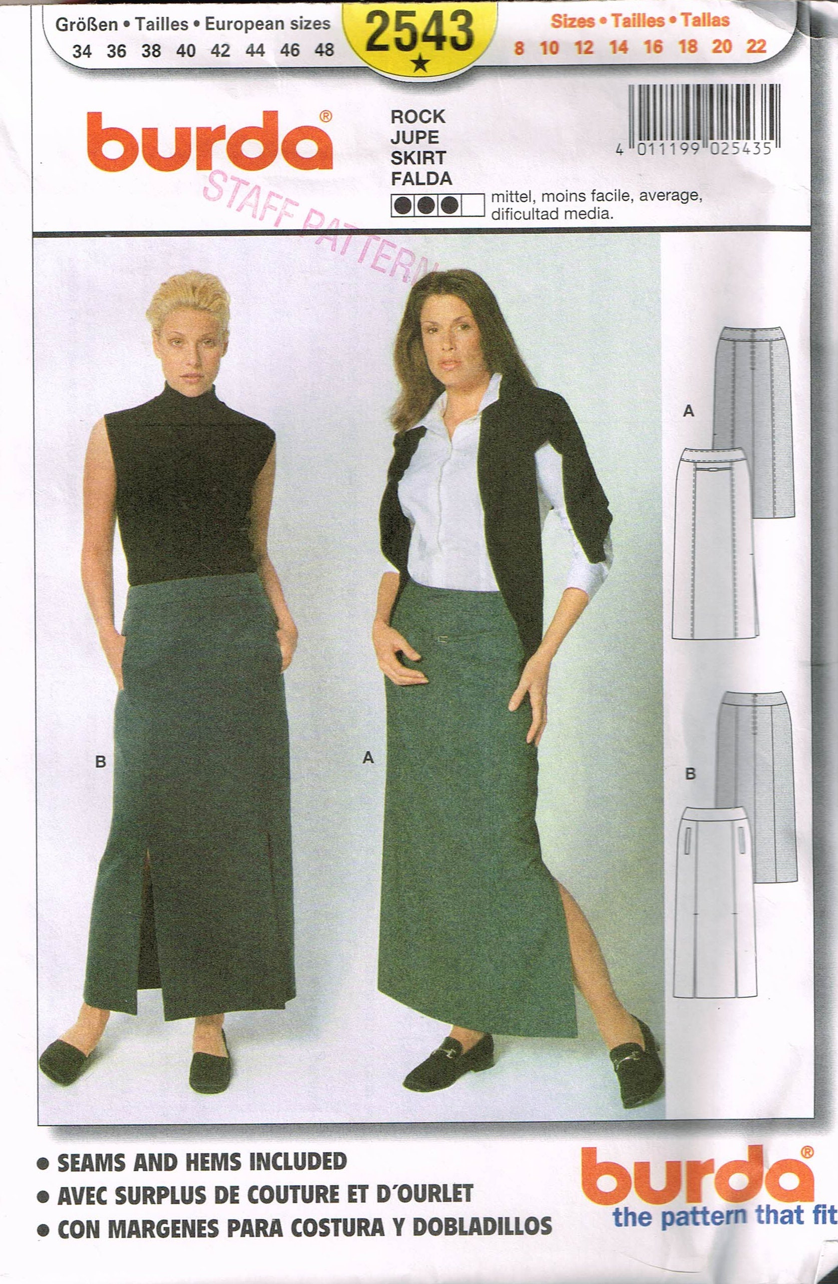 Size 8-22 Misses\' Easy Skirt Sewing Pattern Long