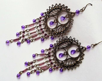 Vintage Crystals Filigree Chandelier Earrings, Purple Tear Drop Crystals & Beads Brass Tone Extra Large Chandelier Dangle Pierced Earrings
