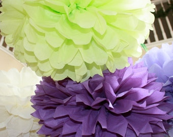 Paper Pom Poms - Set of 10- Your Color Choice - Tinkerbell Disney Fairies Party - Fancy Nancy