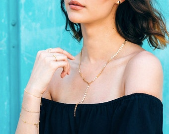 Shimmer Lariat Necklace, Lariat Necklace, Coin Lariat Necklace, Chain Drop Lariat, Gold or Silver Y Necklace