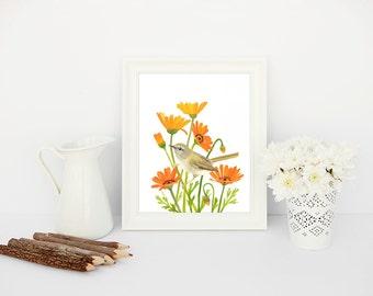 Farmhouse Decor, Flower Art Print, Instant Download | Rustic Decor, Bird Print, Orange Decor Farmhouse Wall Art, Country Decor, Rustic Home