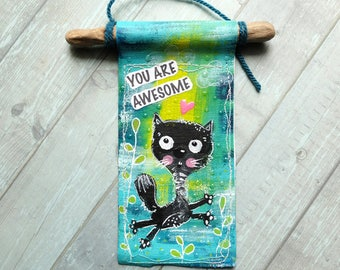You are awesome. Lucky Black Cat. Door hanger. Wall hanger. Sign
