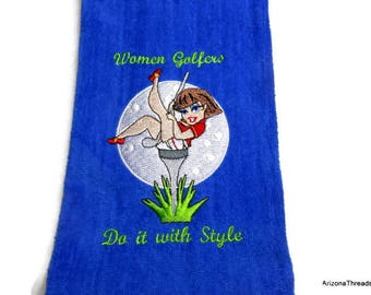 Golf Towel, golf gift women, funny towel, embroidered golf, golf gift for her, funny golf towel, personalize gift, embroidered towel, ladies