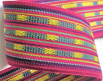 """Jacquard Ribbon - 2 3/4"""" - Pink, Purple, Turquoise and Yellow -Super Fine Trim- Tribal Geometric Wide Woven Very Heavy"""