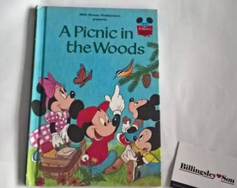 Walt Disney A Picnic In The Woods Book Mickey Mouse, Excellent Condition,Collectable, Retro Childrens Book circa 1974 Rare Book Grolier Club