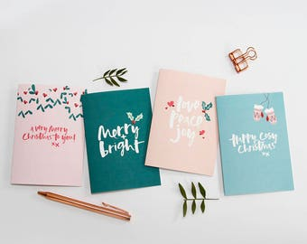 Pack of 8 Joyful Christmas Cards - Christmas Card Pack - Xmas Cards - Xmas Card Pack - Christmas Cards - Joyful Christmas Cards