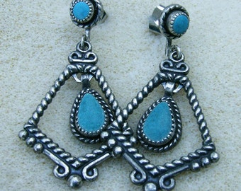 Turquoise Silver Dangles - Gorgeous Vintage Turquoise with Silver on Posts by JewelryArtistry - E633