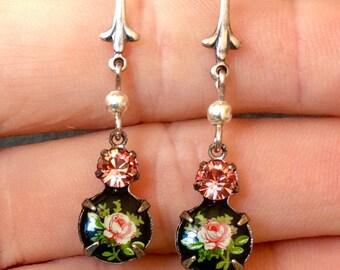 Pink Victorian Earrings Bride-Vintage Pink Rose Earrings-Victorian Jewelry Bride-Fleur de Lis Drop Earrings-Vintage Bridal Earring