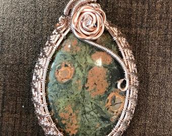 Unakite pendant, wire wrapped pendant