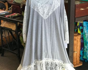 Altered Couture Flouncy, White and Gray Upcycled Doily Dress, Size 2 XXL Shabby Chic Tunic