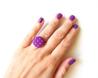 Purple Dot Ring, Polka Dot Ring, Fabric Button Ring, Retro Minimal Jewel, Purple White Ring, Purple Polka Ring, Adjustable Ring,Button Jewel
