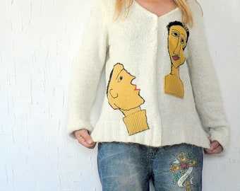 M-L fantasy sweater cardigan appliqued artistically. Made from recycled sweater.Unique design.