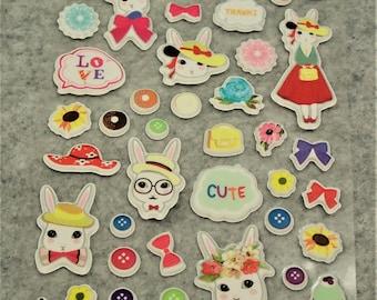 Mixed Sweet Puffy Elegant Bunny Stickers - PE02