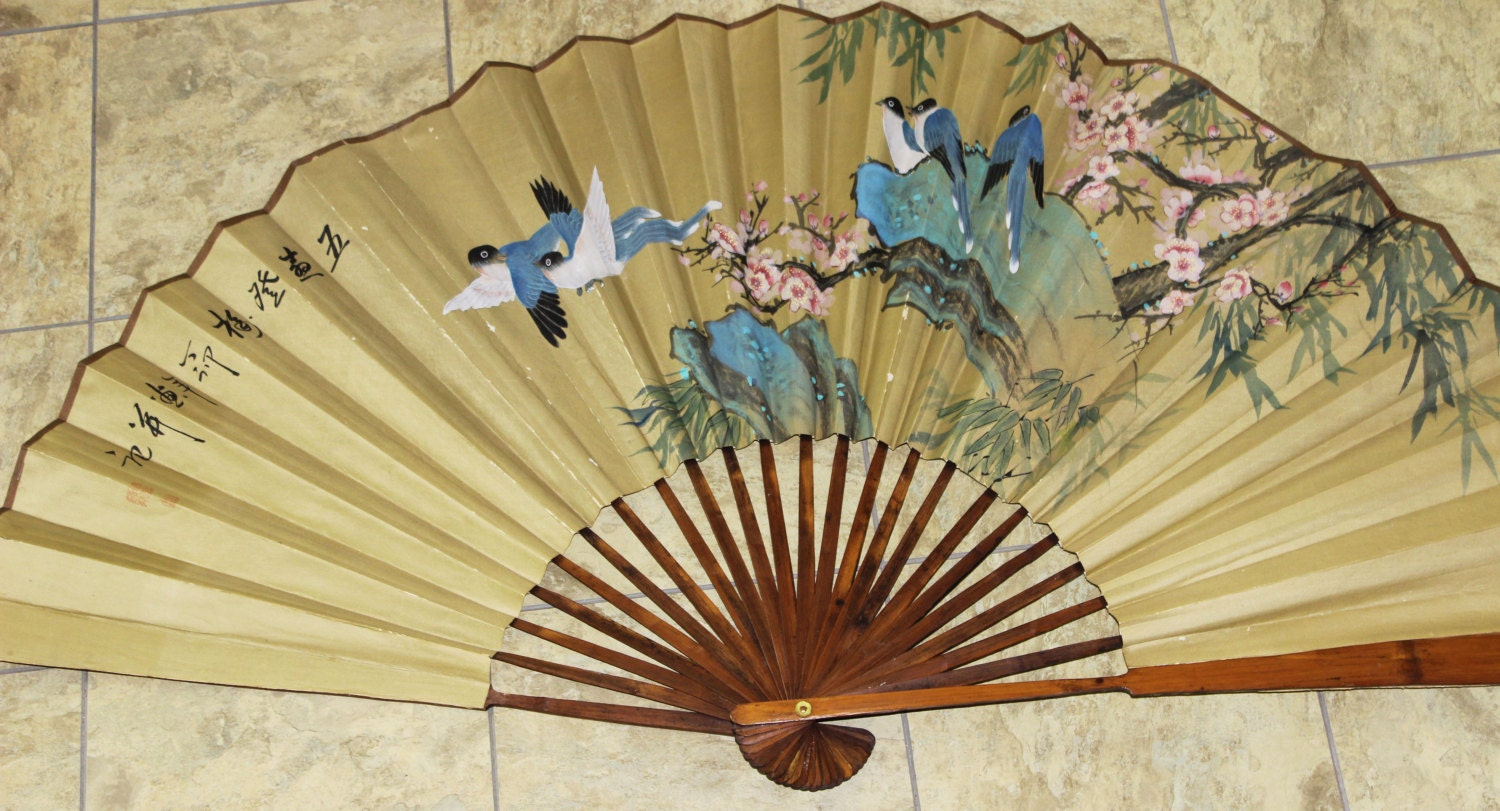 Chinese Fan Large Wall Hanging Bamboo Spine Fan Hand Painted