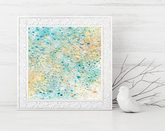 Coastal Home Decor - Abstract Printable Art - Square Art Print - Pastel Colors - Beach House Decor - light turquoise white yellow cream
