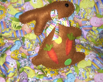 Brown Felt Standing Easter Bunny