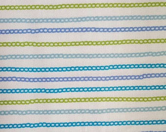"""Chain fabric/Blue/Green/White"""" Chain link"""" pattern/100%  Quilting Cotton Fabric/44"""" wide/You Choose the Cut!"""