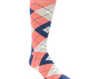 Coral, Navy and Natural Argyle Grooms Socks