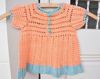 Baby Dress, Vintage Peach Crochet Baby Clothes Size 0-3 Months
