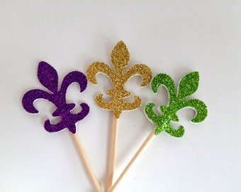 24 Mardis Gras Fleur De Lis Purple Green Gold Glitter Cupcake Toppers - Party Picks - Food Picks
