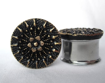 """Pair of VINTAGE Black and Gold Button Plugs - Girly Gauges - 3/4"""", 7/8"""" (19mm, 22mm) - Antique - Feminine - Formal"""