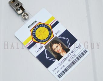 BONES Style Jeffersonian Replica Pvc ID Card w/ Strap Clip - Your Choice: Temperance Brennan - Seeley Booth - Angela - Jack -  Made In USA