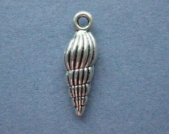 8 Shell Charms - Shell Pendant - Sea Shell - Shell - Seashell - Antique Silver - 8mm x 24mm -- (No.6-10058)