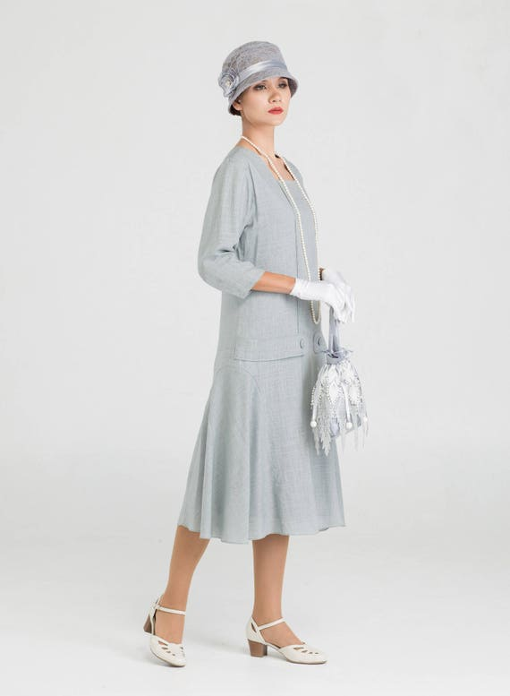 1920s Day Dresses, Tea Dresses, Mature Dresses with Sleeves Grey Great Gatsby linen dress with square neck and 3/4 sleeves $140.00 AT vintagedancer.com