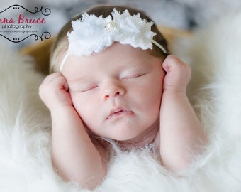 Preemie White Baptism Headband, Christening Headband, Baby Headband