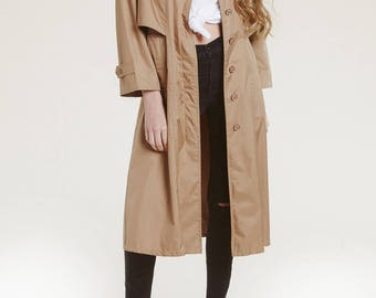 vtg neutral trench coat / perfect spring coat / 80s modern