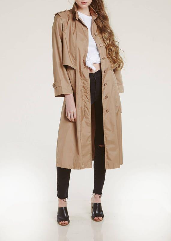 vtg neutral trench coat / perfect spring coat / 80s modern