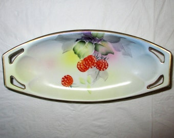 "8.25"" Oval Nippon Hand Painted Pickle / Relish Dish, Berries, Thick Gold Trim, ca. 1890s-1910s"