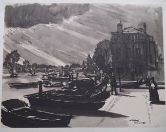 River Thames View at Richmond upon Thames - Vintage Early Post-War Art - Water Front - W Fairclough 1946 - Matted - Ready to Frame