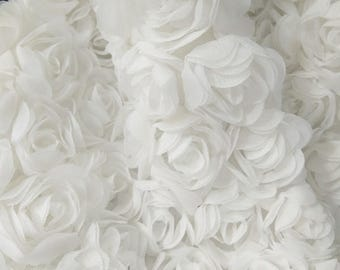 3D rosette fabric by the yard, off white 3D rose flowers chiffon fabric