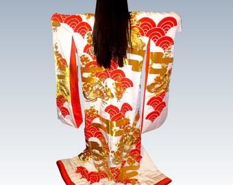 Pair of Vintage Uchikaki Japanese Wedding Kimono Set